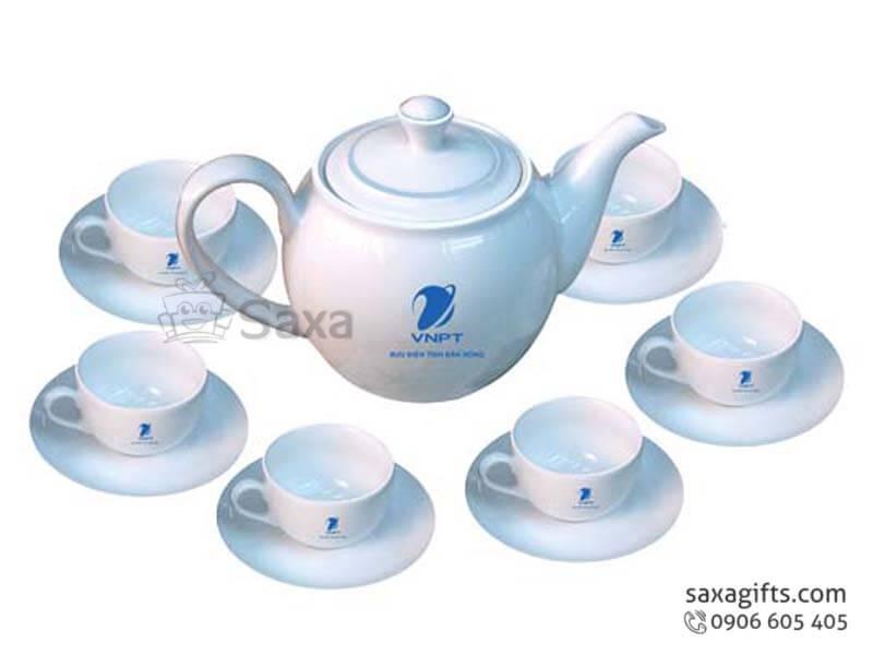 Bộ ấm trà gốm sứ Minh Long thân bầu tay quai dẹp