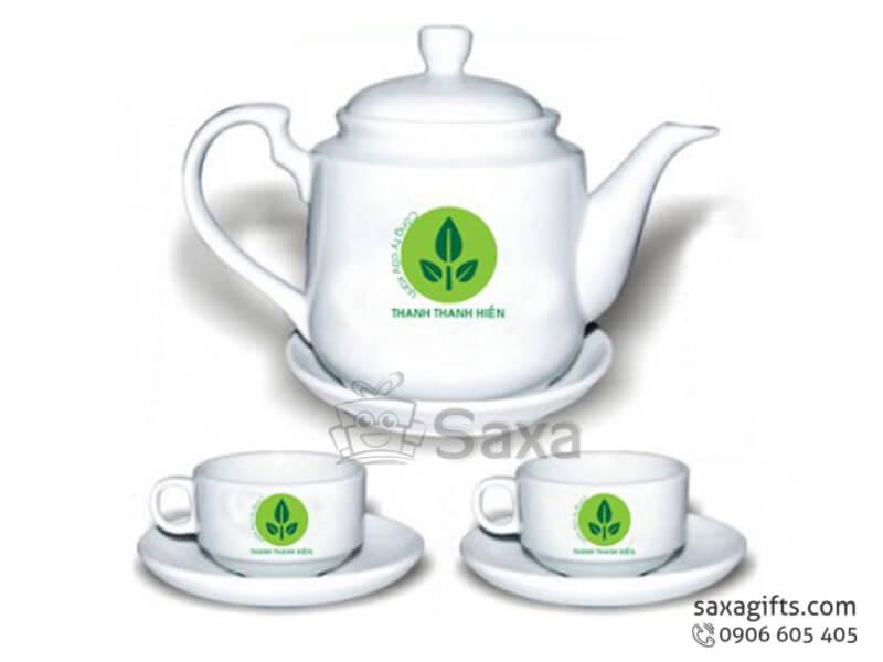Bộ ấm trà in logo gốm sứ dung tích lớn