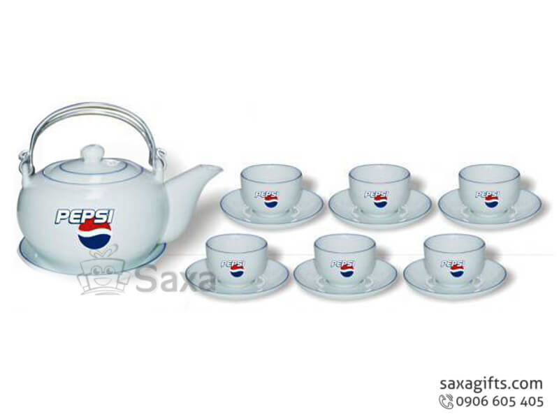 Bộ ấm trà in logo gốm sứ tay xách bằng kim loại