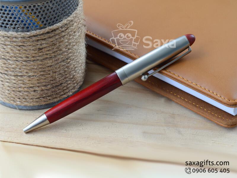 Bút gỗ Đài Loan nắp xoay phối kim loại