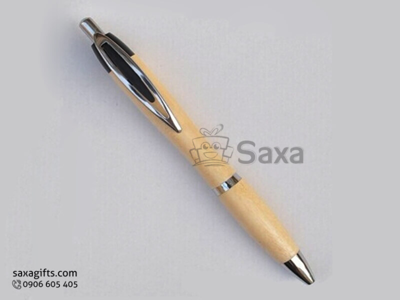 Bút ký gỗ in logo dạng bấm khắc logo giá rẻ