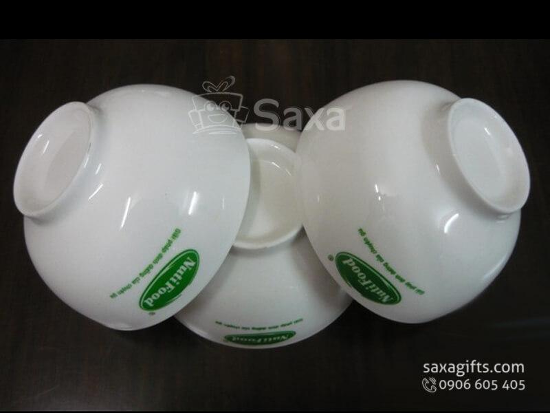 Bộ 6 chén ăn cơm sứ trắng Minh Long in logo NutiFood