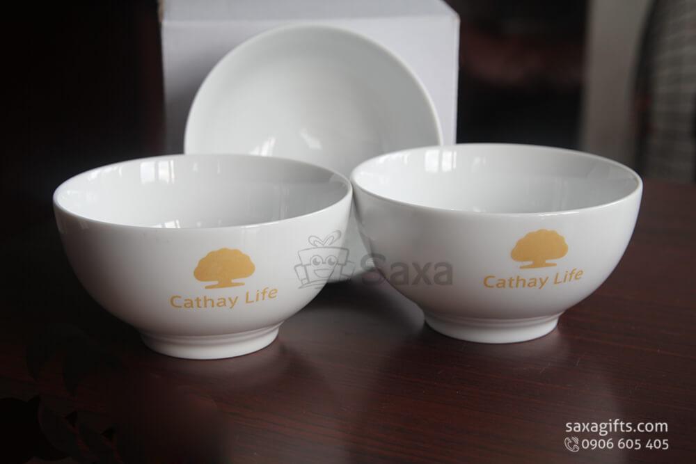 Chén sứ in logo Cathay Life gốm Minh Long