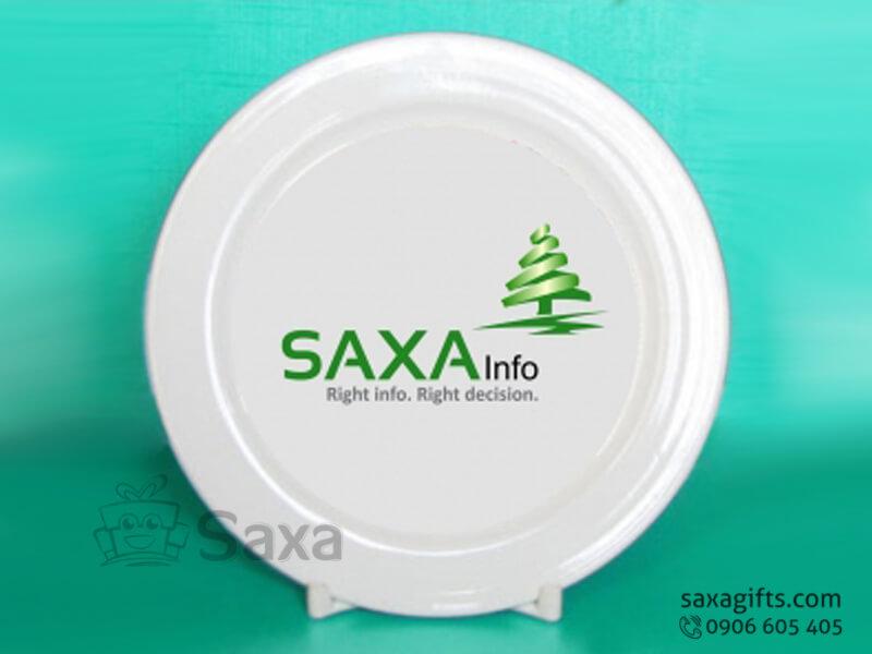 Dĩa sứ in logo Saxagifts làm quà lưu niệm cao cấp