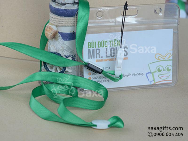 Dây đeo thẻ nhân viên có thẻ nhựa PET màu xanh lá