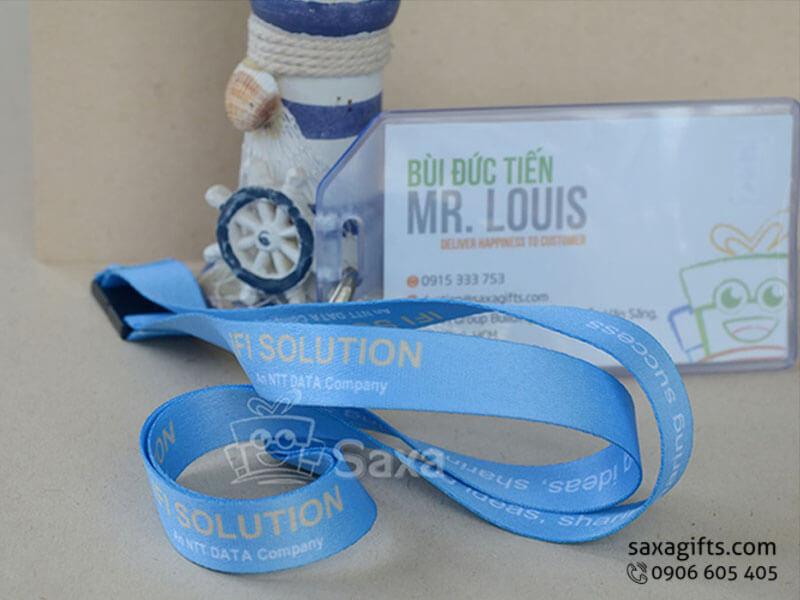 Dây đeo thẻ in logo chất liệu lụa dệt màu xanh dương