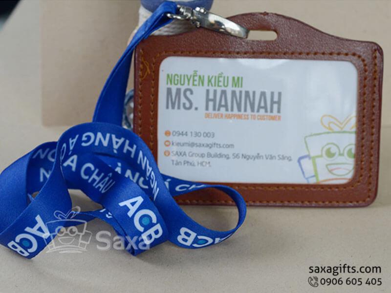 Dây đeo thẻ in logo chất liệu lụa màu xanh dương nổi bật