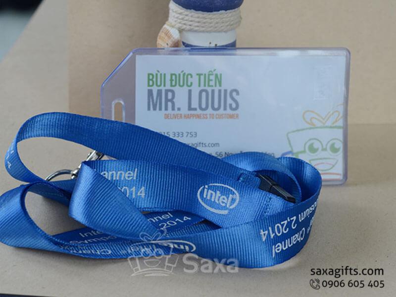 Dây đeo thẻ dây dù màu xanh dương in logo một màu