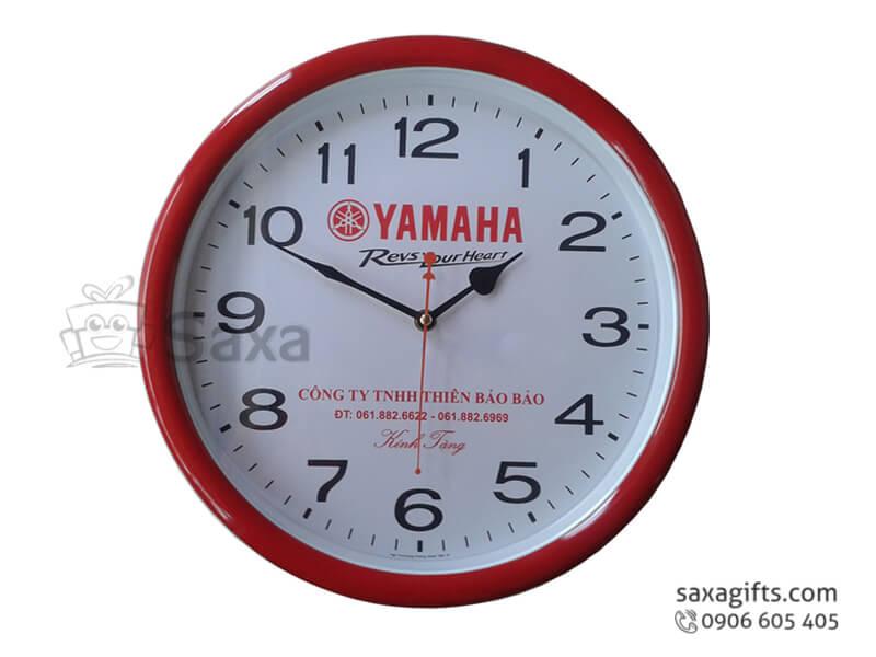 Đồng hồ treo tường hình tròn viền màu in logo theo yêu cầu