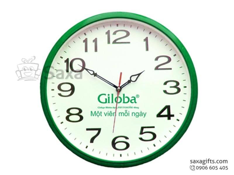 Đồng hồ treo tường in logo viền màu theo yêu cầu