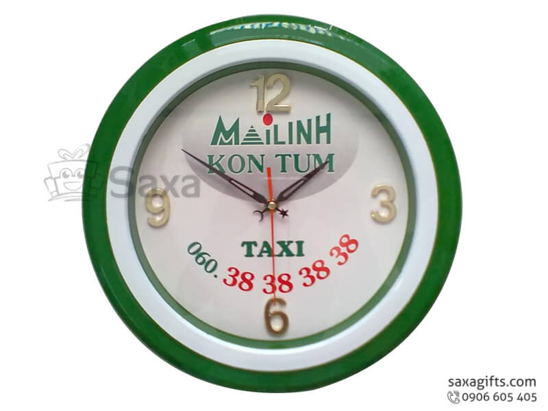 Đồng hồ treo tường in logo viền nhựa 2 màu in logo MB