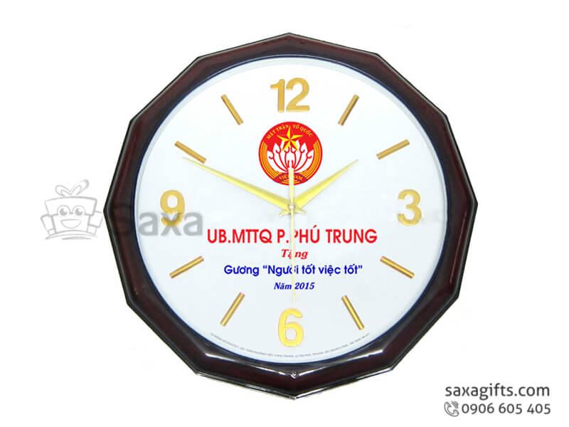Đồng hồ treo tường in logo viền kiểu mặt trời ấn tượng