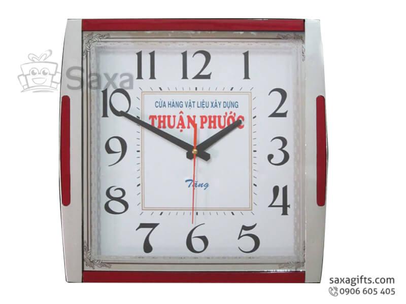Đồng hồ treo tường in logo Thuận Phước cạnh phối màu