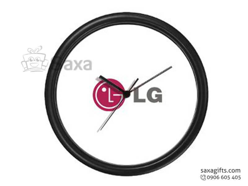 Đồng hồ treo tường hình tròn viền gỗ đen không số của LG
