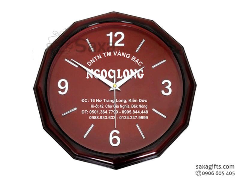 Đồng hồ treo tường giác 12 cạnh vạch số xen kẽ của Ngọc Long