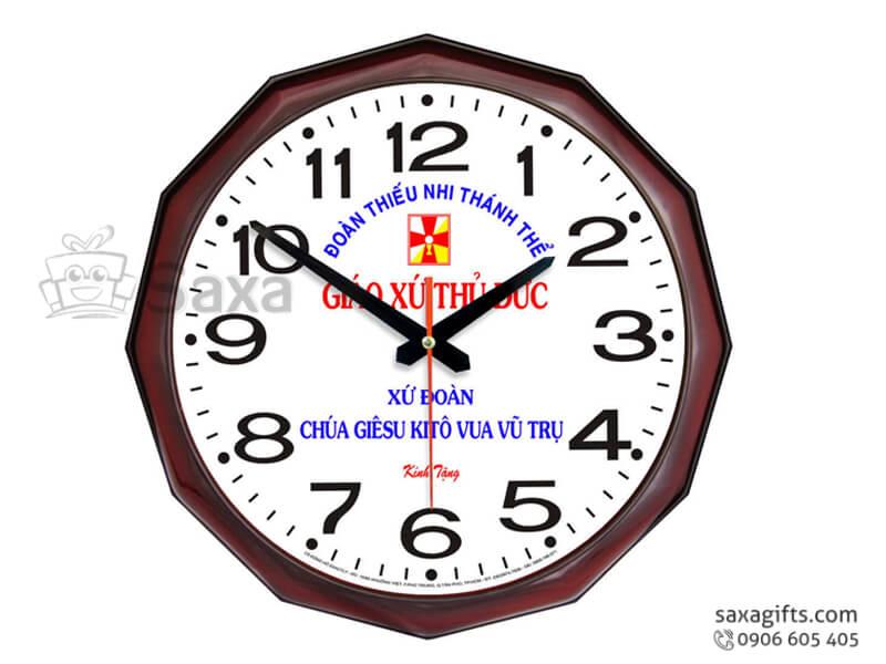 Đồng hồ treo tường in logo giác 12 cạnh vạch số xen kẽ của Ngọc Long