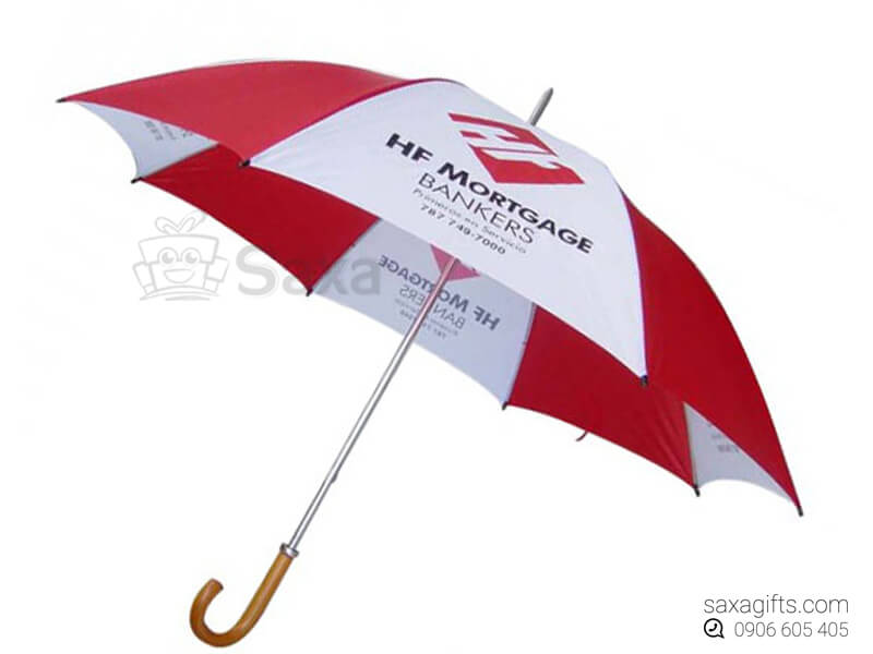 Dù cầm tay in logo cán cong bằng gỗ múi dù đỏ phối trắng