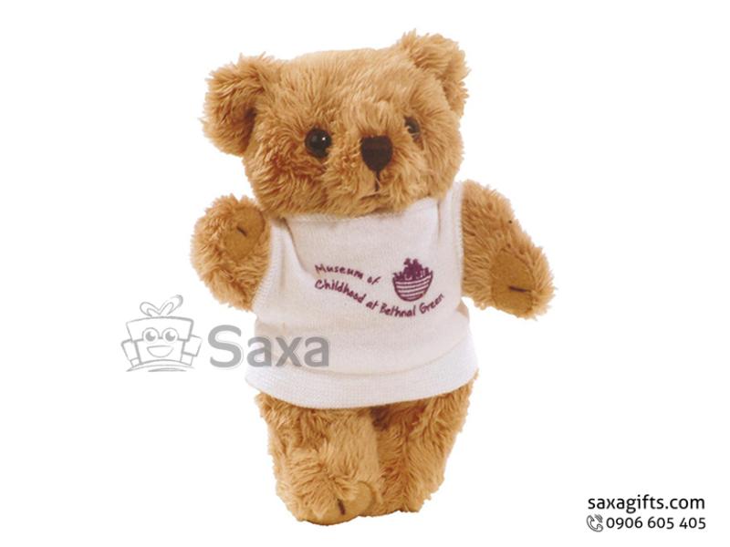 Gấu nhồi bông in logo lông xù mặc áo thun