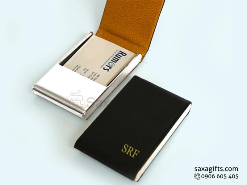 Hộp namecard da in logo kiểu đứng nắp bật đơn giản
