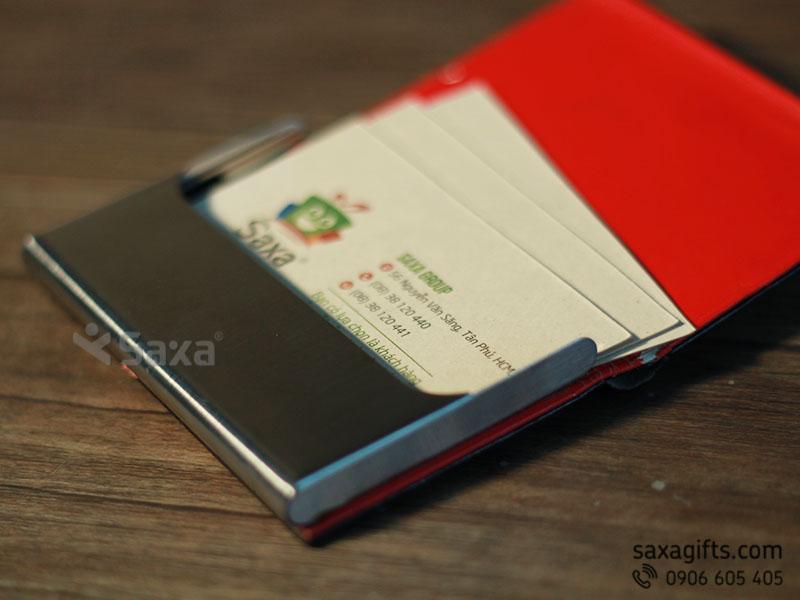 Hộp namecard da in logo phối kim loại 1 phần trên nắp