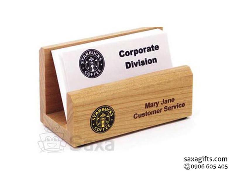 Hộp namecard gỗ in logo để bàn bằng gỗ thông tự nhiên