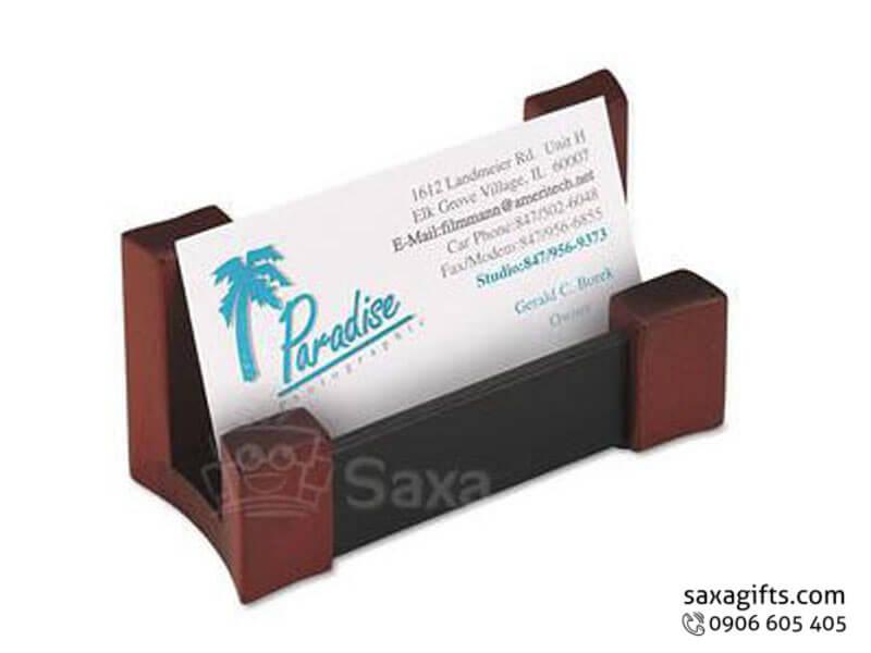 Khay đựng namecard gỗ in logo phối 2 màu đỏ đen