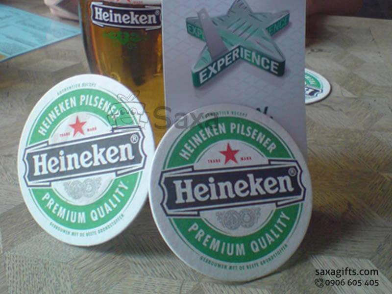 Lót ly giấy in logo Heneiken beer hình tròn