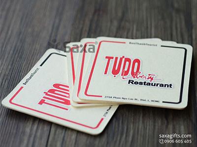 Lót ly giấy in logo hình dáng làm theo mẫu