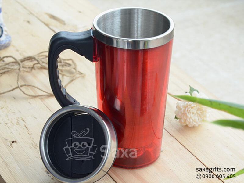 Ly giữ nhiệt in logo inox + nắp đậy có lỗ cắm ống hút dạng trượt
