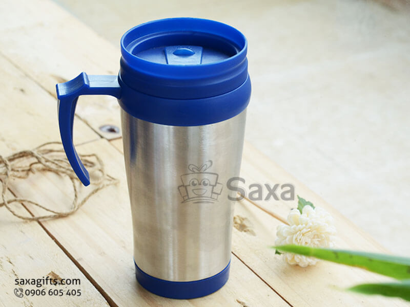 Ly giữ nhiệt in logo inox nắp nhựa có lỗ cắm ống hút dạng trượt