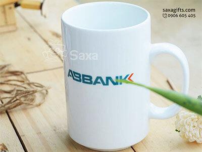 Ly sứ trắng in logo ABBank hiệu Minh Long dung tích 520ml