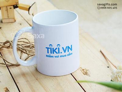 Ly sứ trắng in logo Tiki hiệu Minh Long