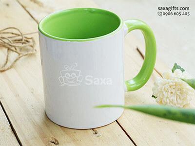 Ly sứ in logo nhập khẩu phối màu trắng xanh lá