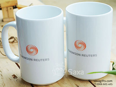 Ly sứ trắng in logo Thomson Reuters hiệu Minh Long dáng cao