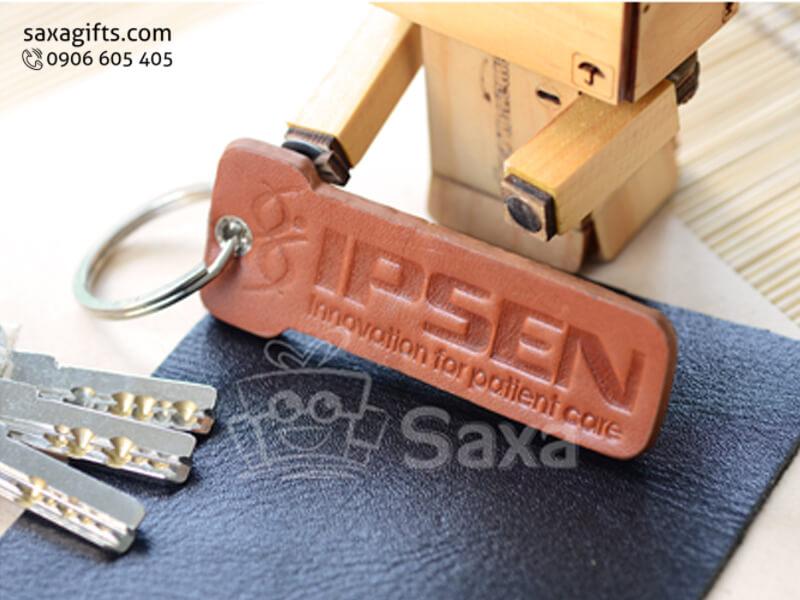 Móc khóa da in logo mô hình chìa khóa