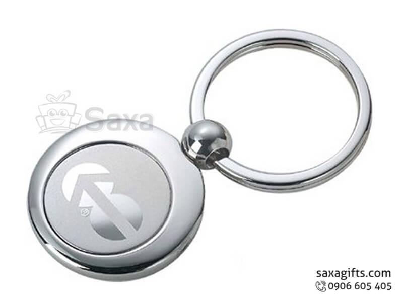 Móc khóa kim loại in logo hình tròn nhỏ gọn