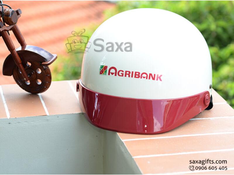 Mũ bảo hiểm in logo quảng cáo vành mũ phối màu theo yêu cầu