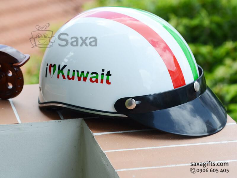 Mũ bảo hiểm in logo quảng cáo kiểu nửa đầu phối sọc màu nổi bật