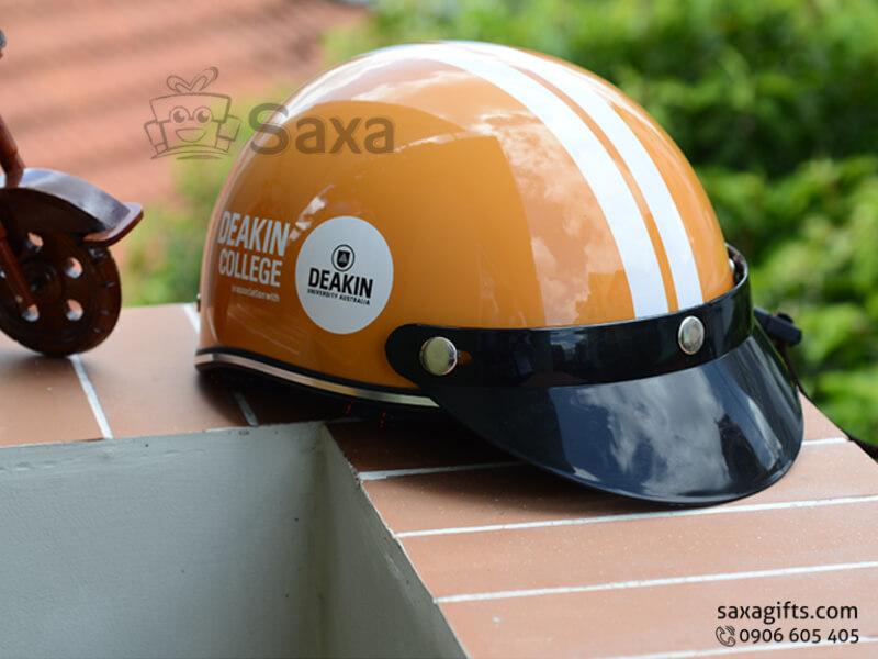 Mũ bảo hiểm in logo quảng cáo nửa đầu lưỡi trai tháo lắp