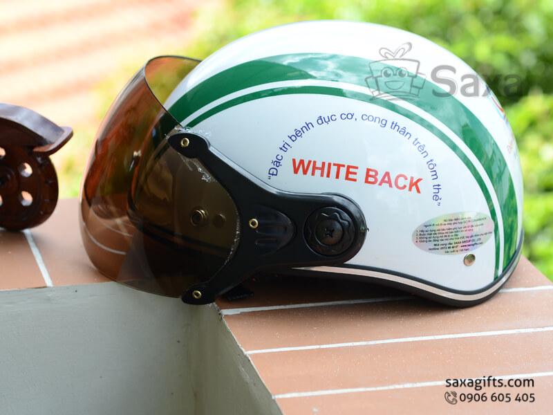 Mũ bảo hiểm in logo quảng cáo kiểu nửa đầu có kính che