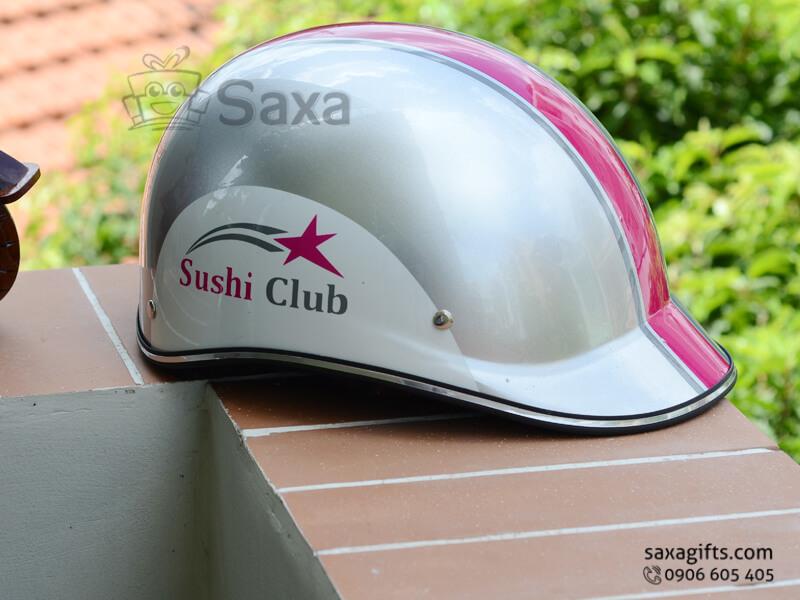 Mũ bảo hiểm in logo quảng cáo form nửa đầu vành đúc của Sushi Club
