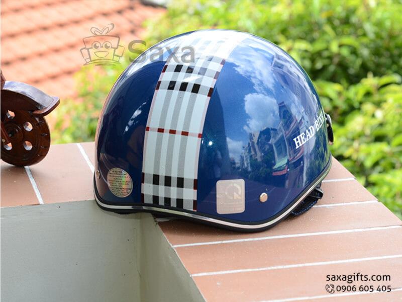 Mũ bảo hiểm in logo quảng cáo thiết kế form nửa đầu phối sọc caro