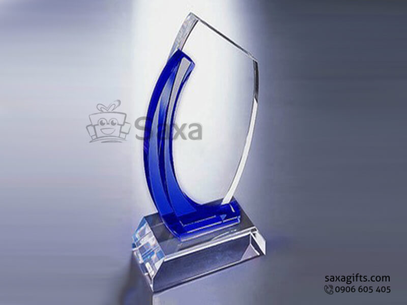Kỷ niệm chương pha lê khắc logo trắng phối xanh hình con sóng