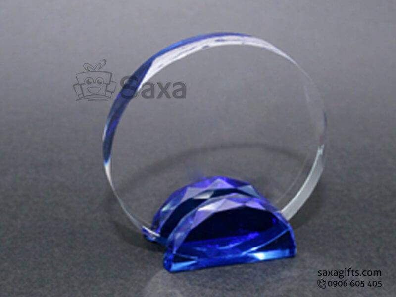 Kỷ niệm chương thủy tinh khắc logo màu xanh dương