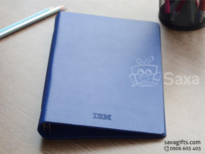 Sổ da in logo bìa còng màu xanh có lót nhung