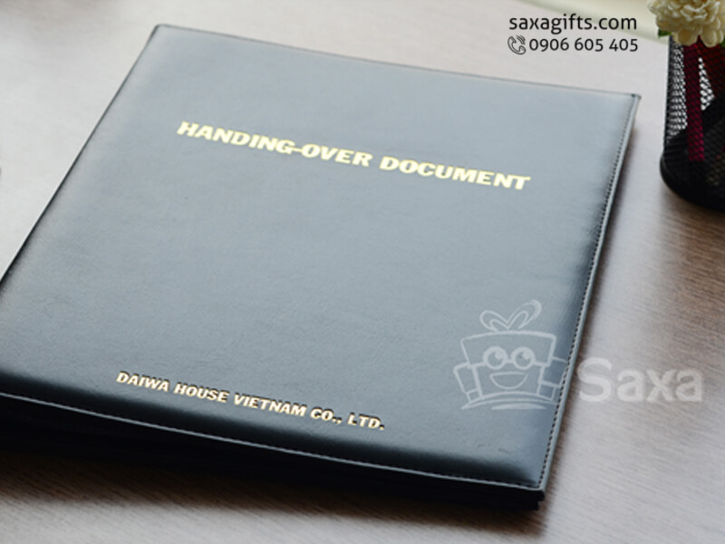 Bìa da lưu trữ tài liệu dập logo ép nhũ vàng