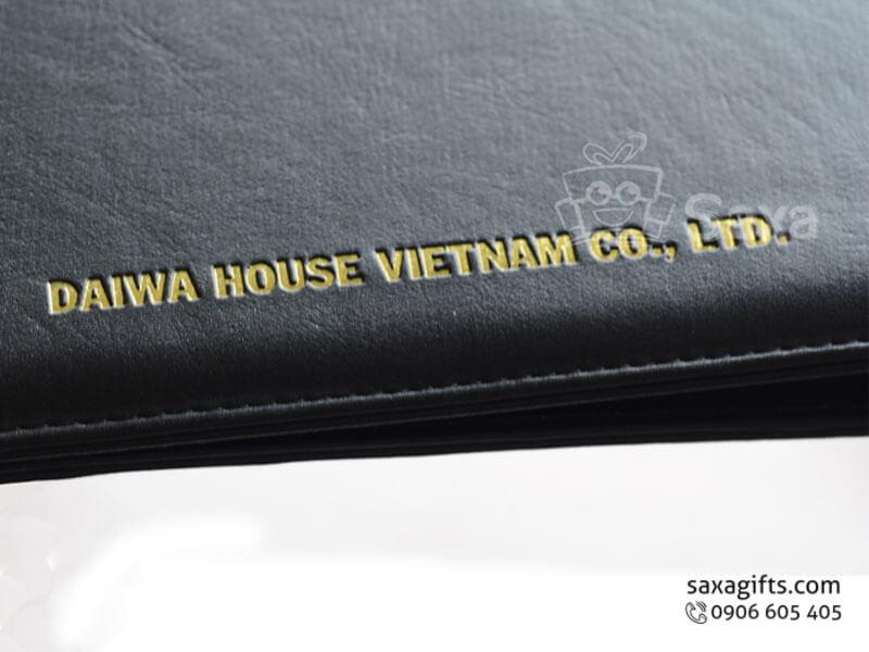 Bìa da in logo lưu trữ tài liệu dập logo ép nhũ vàng