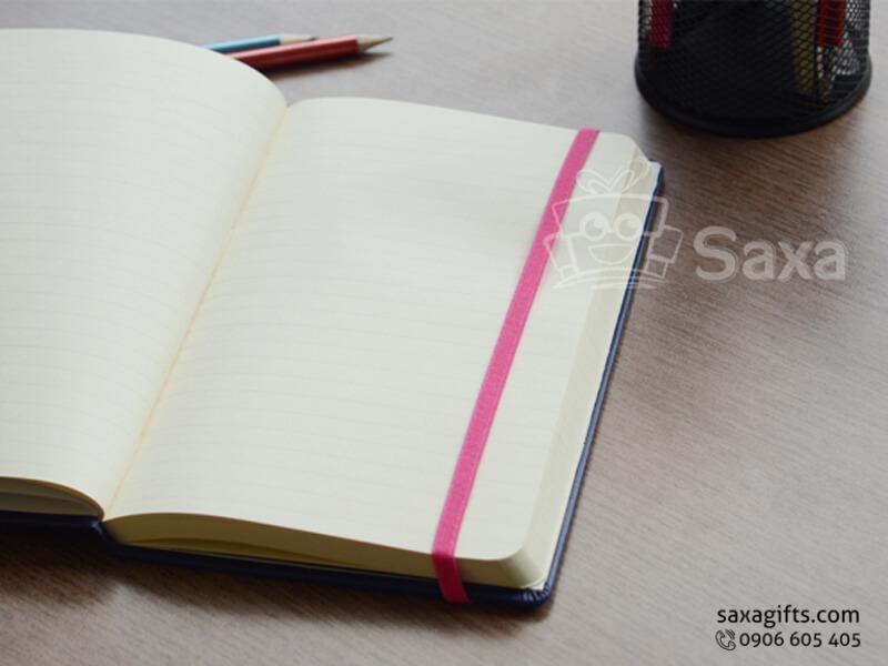 Sổ note gáy dán in logo bìa simili xanh đen có thun cài