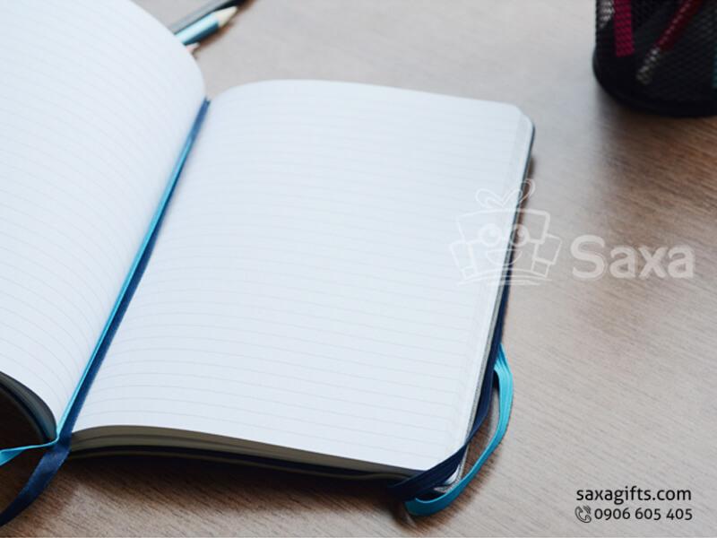 Sổ note gáy dán in logo bìa simili xám có thun cài