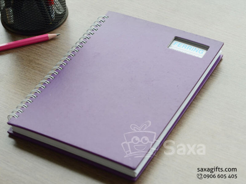 Sổ note lò xo in logo khổ A5 bìa giấy cứng màu tím